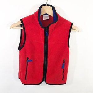 Hanna Andersson Red Fleece Hooded Vest Size 110